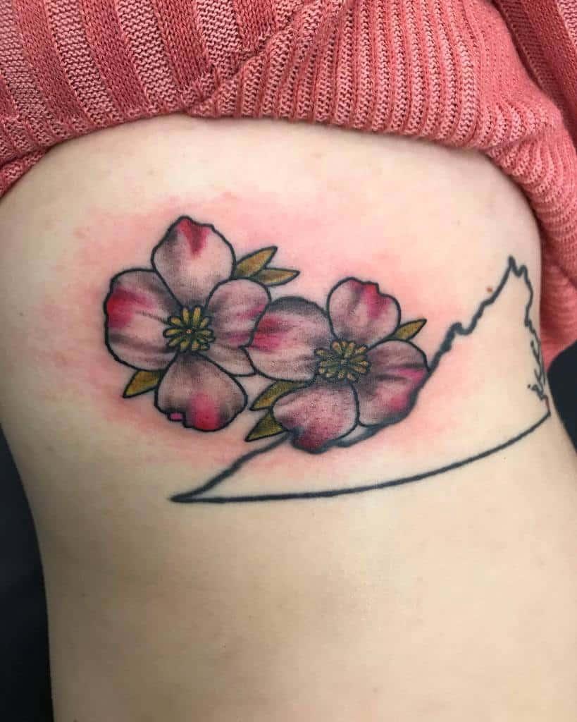 Dogwood Flower Rib Tattoo memeskulls