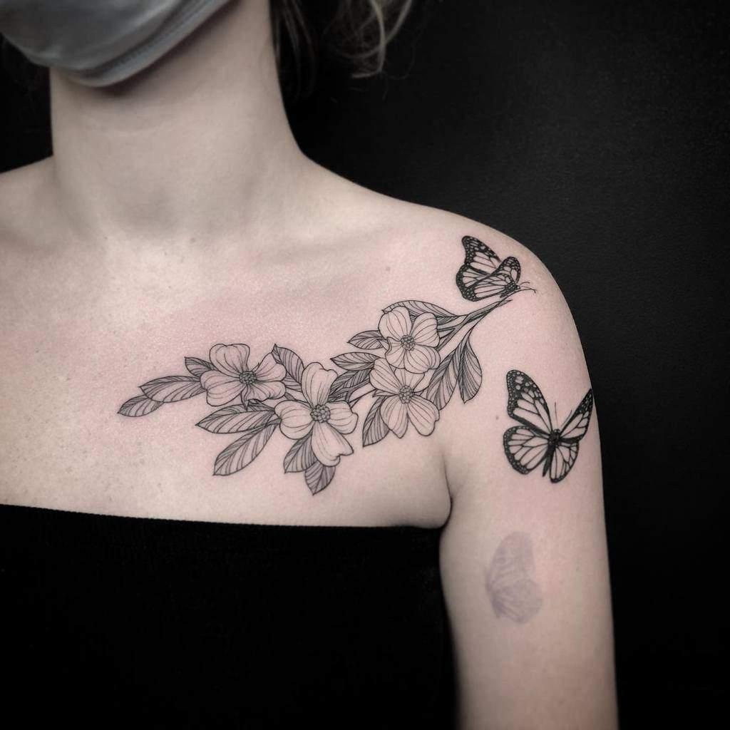 Dogwood Flower Shoulder Tattoo libbytattoo