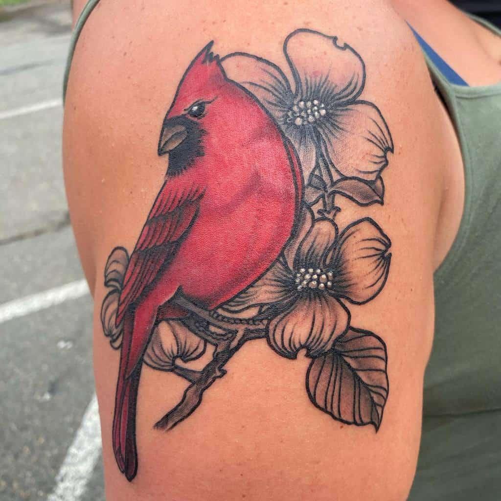 Dogwood Flower Shoulder Tattoo seanhollandtat2