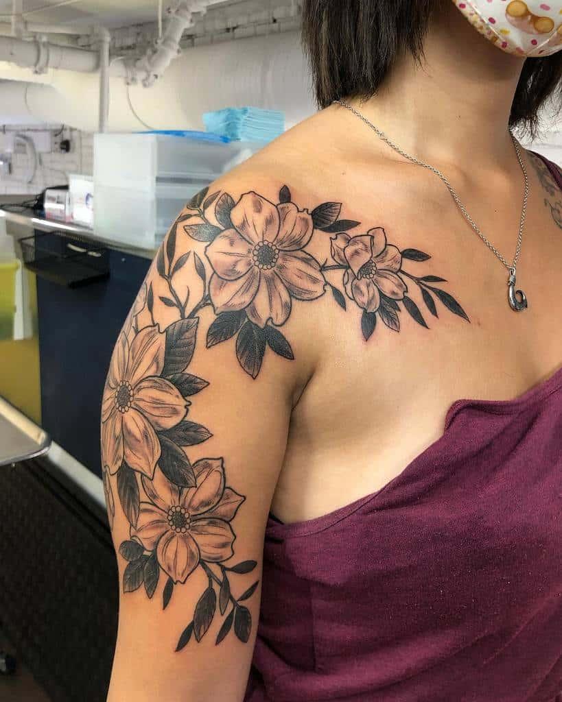 Dogwood Flower Shoulder Tattoo tigerstatustattoos