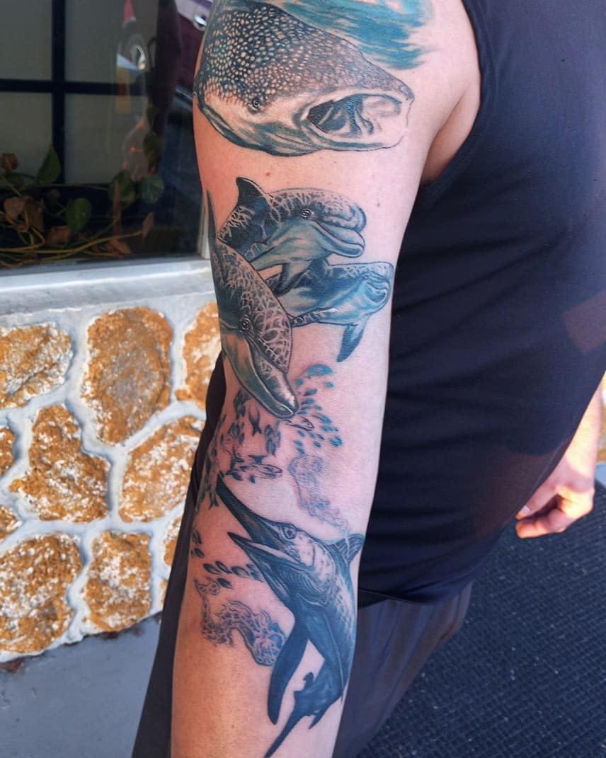 Realistic Dolphin Tattoo -savannahleslieartworks