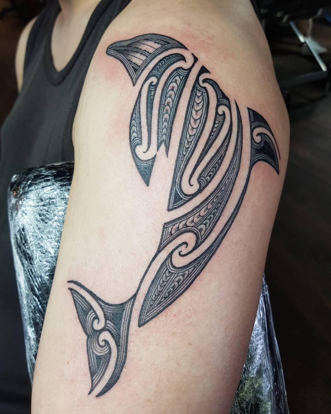 Tribal Dolphin Tattoo -te_kaya_ink