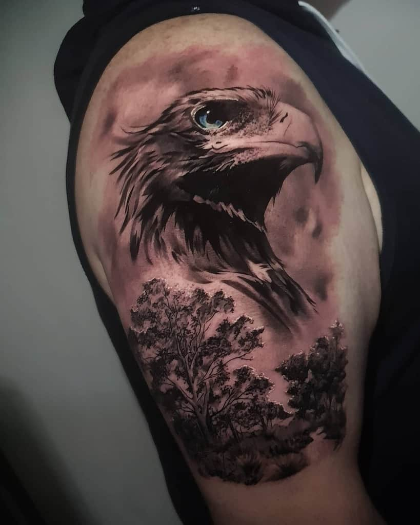Eagle Head Shoulder Tattoo crankycraigstattoos