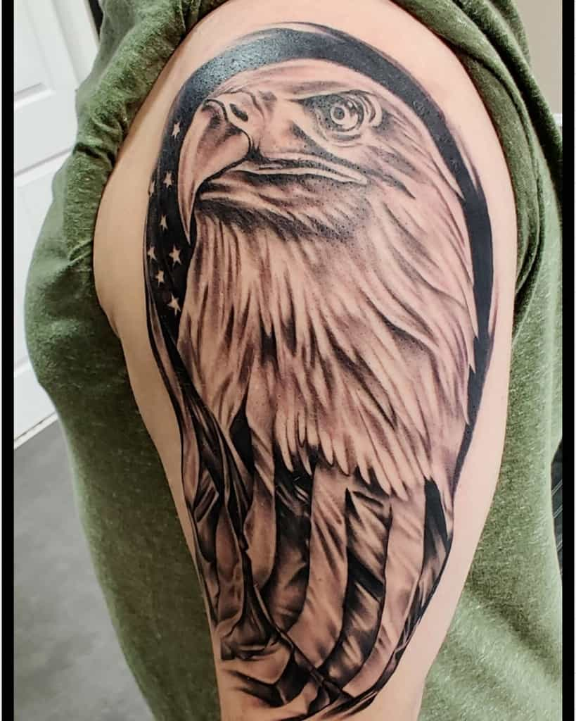 Eagle Head with Flag Tattoo blacklinetattoocompany
