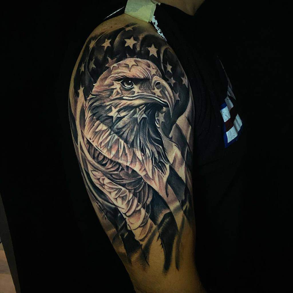 Eagle Head with Flag Tattoo jaimelegion