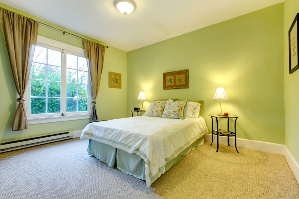 Cozy,Bedroom,With,Mint,Wall,And,Beige,Floor.,Refreshing,White