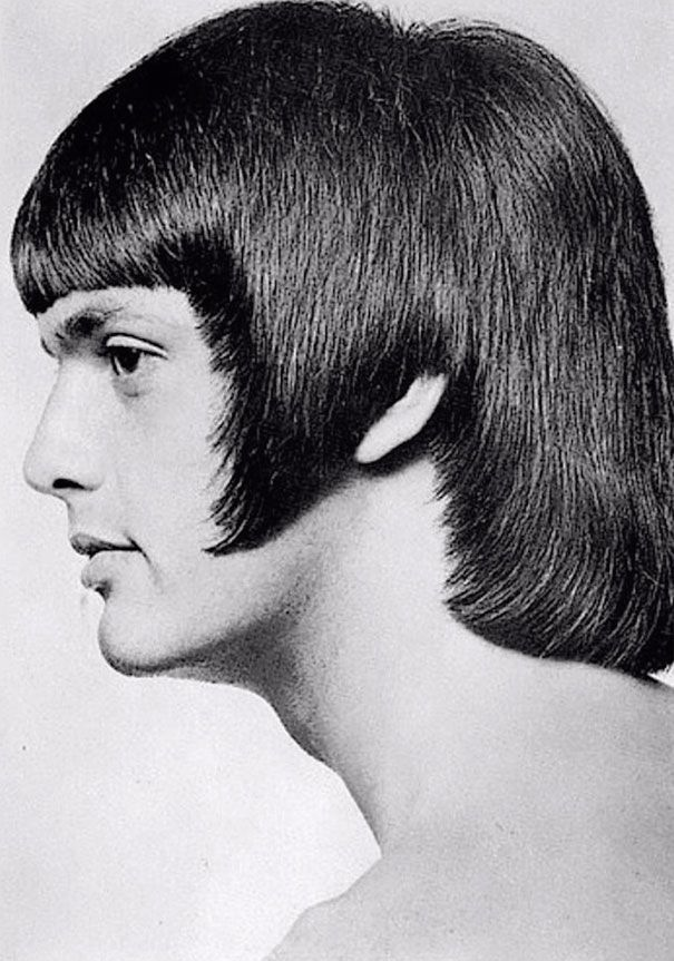 A 1960s men's haircut featuring geometrical shapes styled around the ears and cheeks