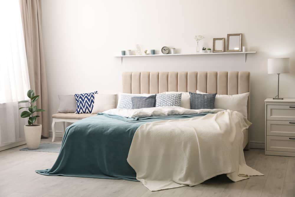 Comfortable,Bed,With,Pillows,In,Room.,Stylish,Interior,Design