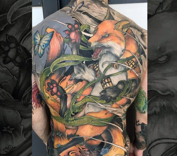 Fighting Fox Tattoo Mens Back