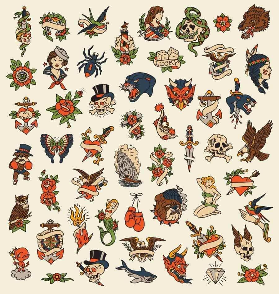 Flash Tattoo Sheets Large Range