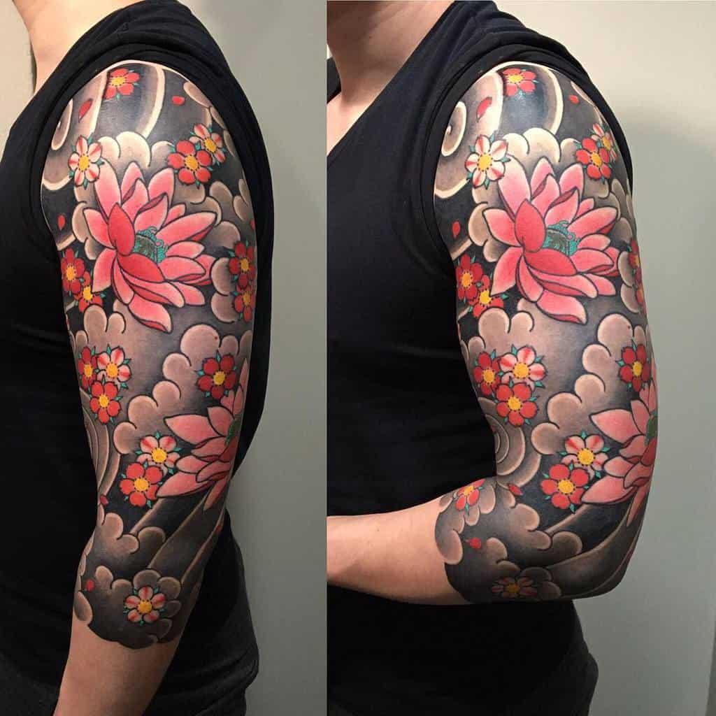 Floral 3 4 sleeve tattoo owen_yu_tattoos