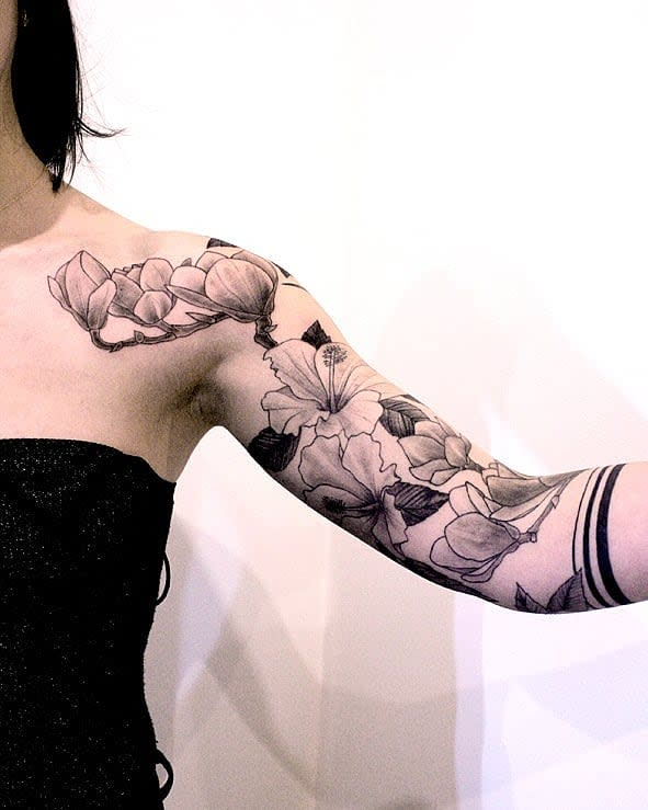 Floral 34 sleeve tattoo la_french_sarah
