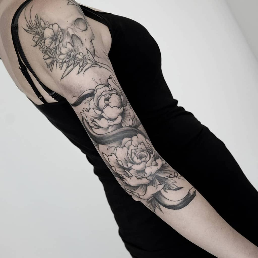 Floral 34 sleeve tattoo zeropointtattoo