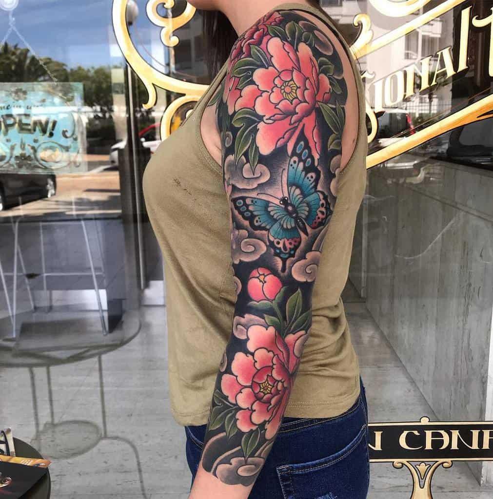 Floral 34 sleeve tattooleolauro