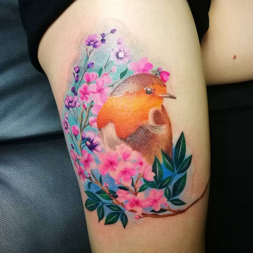 Floral Robin Tattoo Aimie Two.magpies Morris