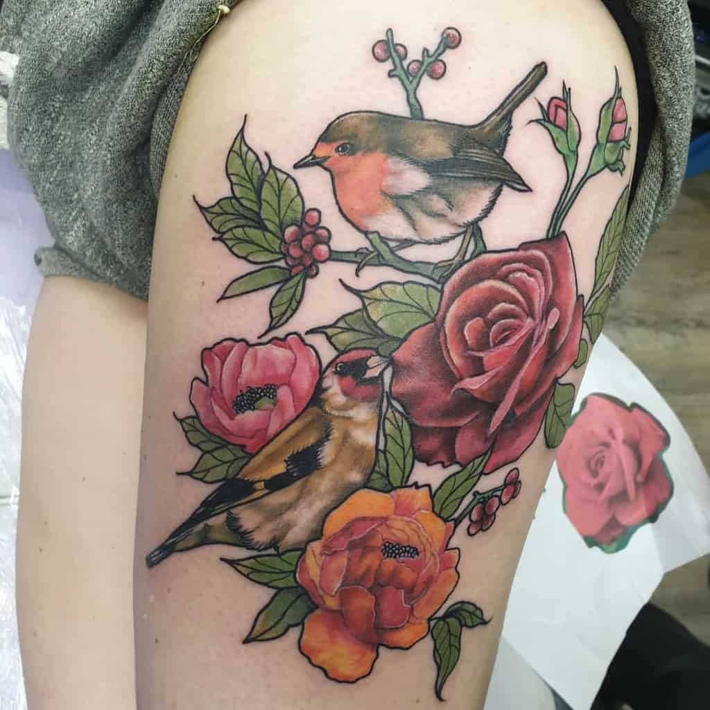 Floral Robin Tattoo Before The Mast