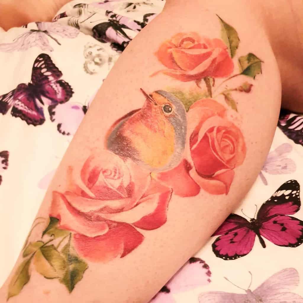 Floral Robin Tattoo Bevp123
