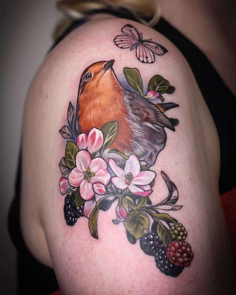 Floral Robin Tattoo Btattoox