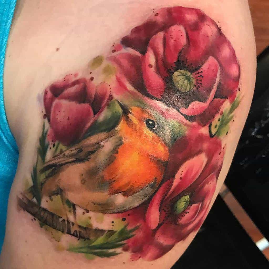Floral Robin Tattoo Daniedismay