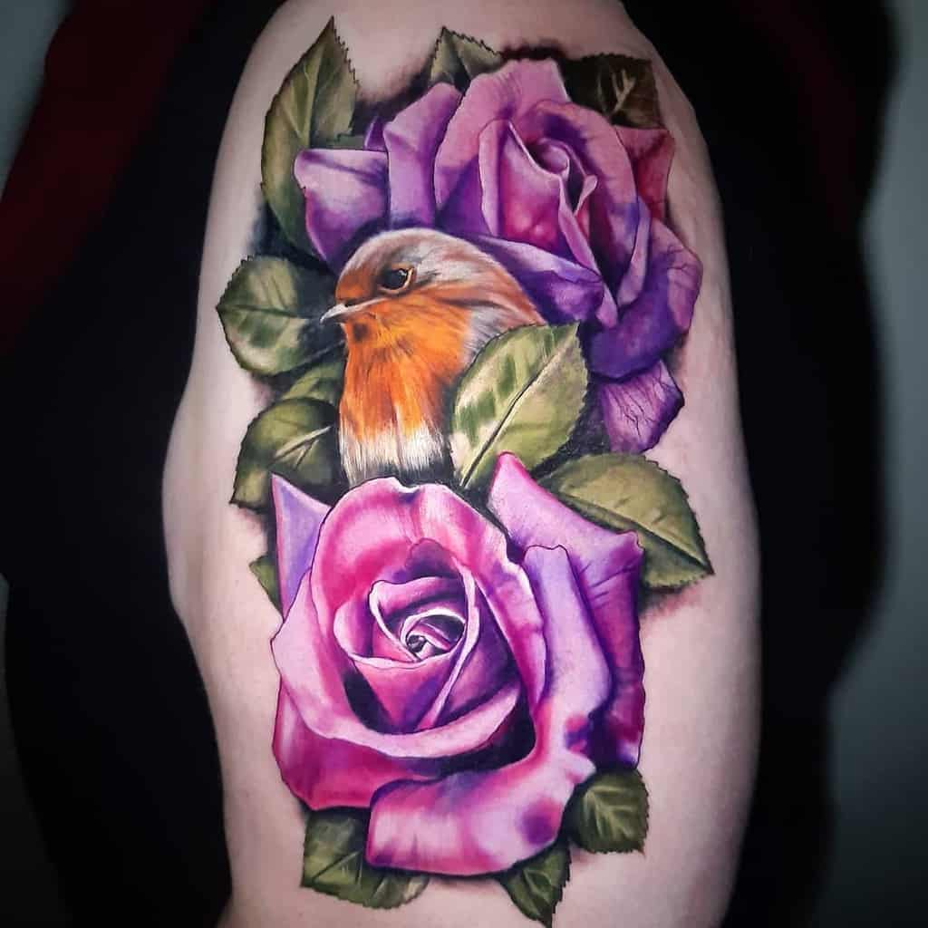 Floral Robin Tattoo Emilystewartist