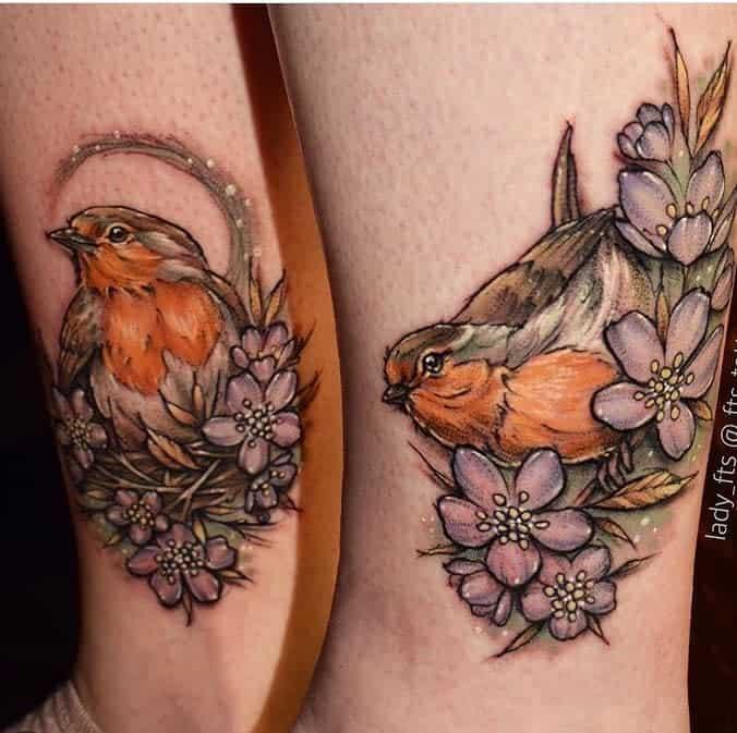 Floral Robin Tattoo Fts Tattoo