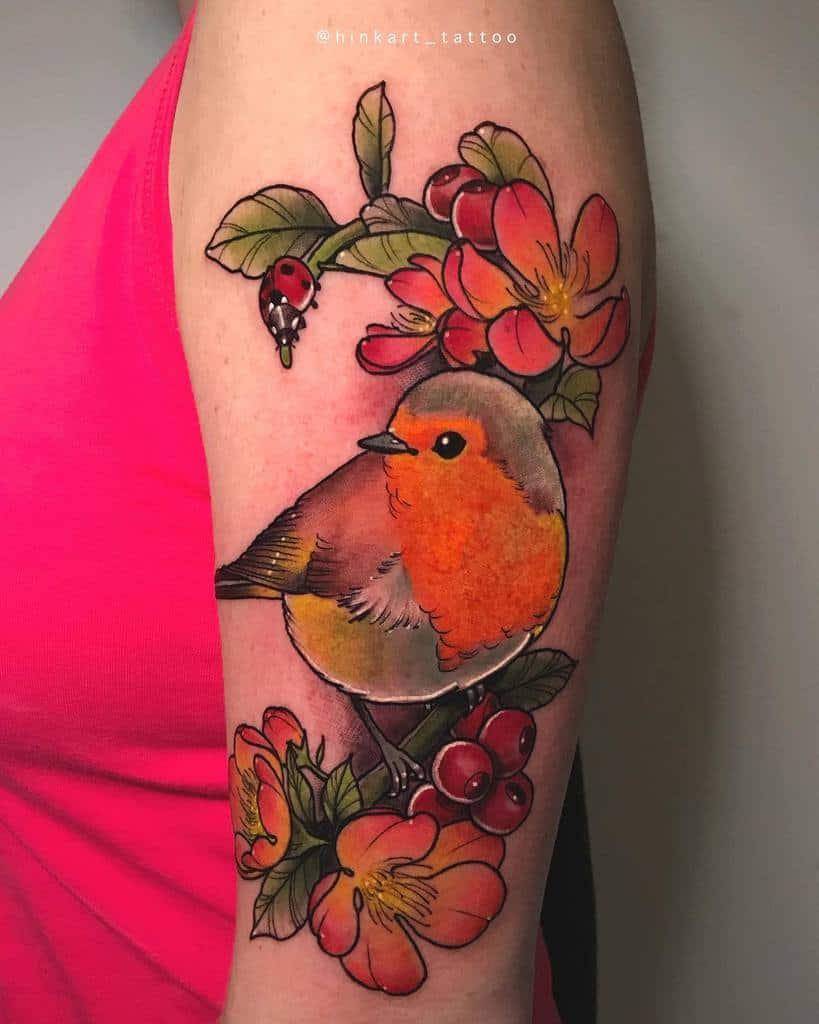 Floral Robin Tattoo Hinkart Tattoo