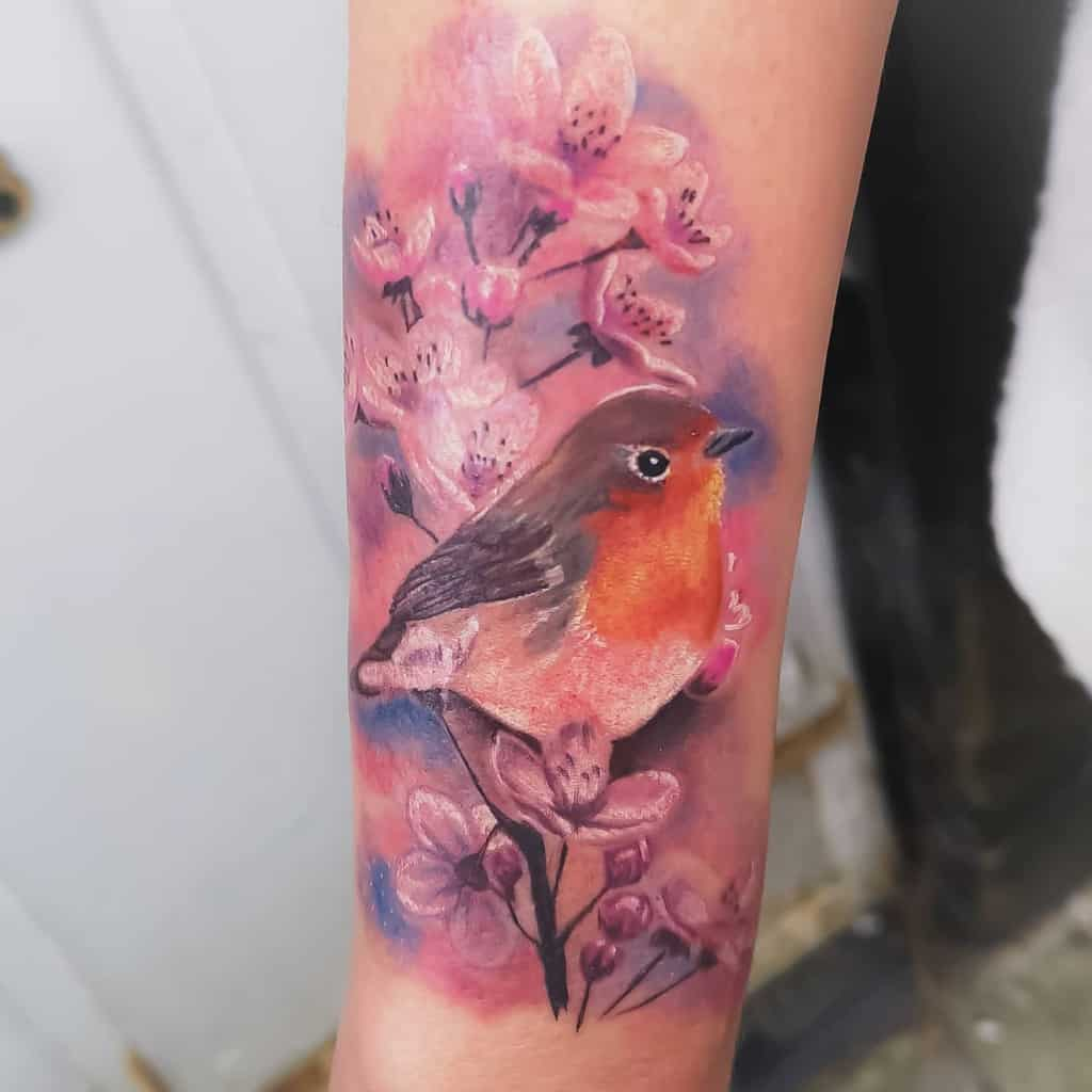 Floral Robin Tattoo Jodieeyoung