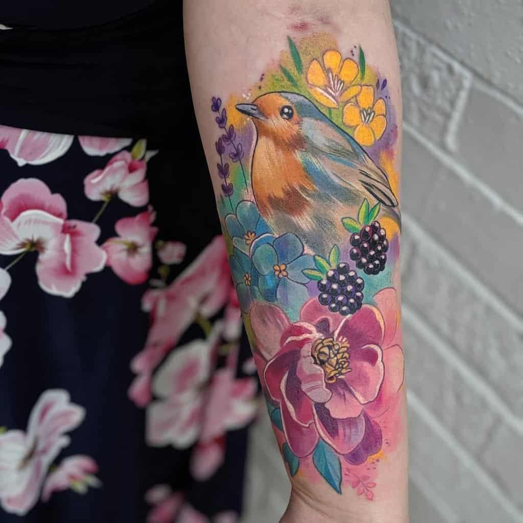Floral Robin Tattoo Tiggytattoos