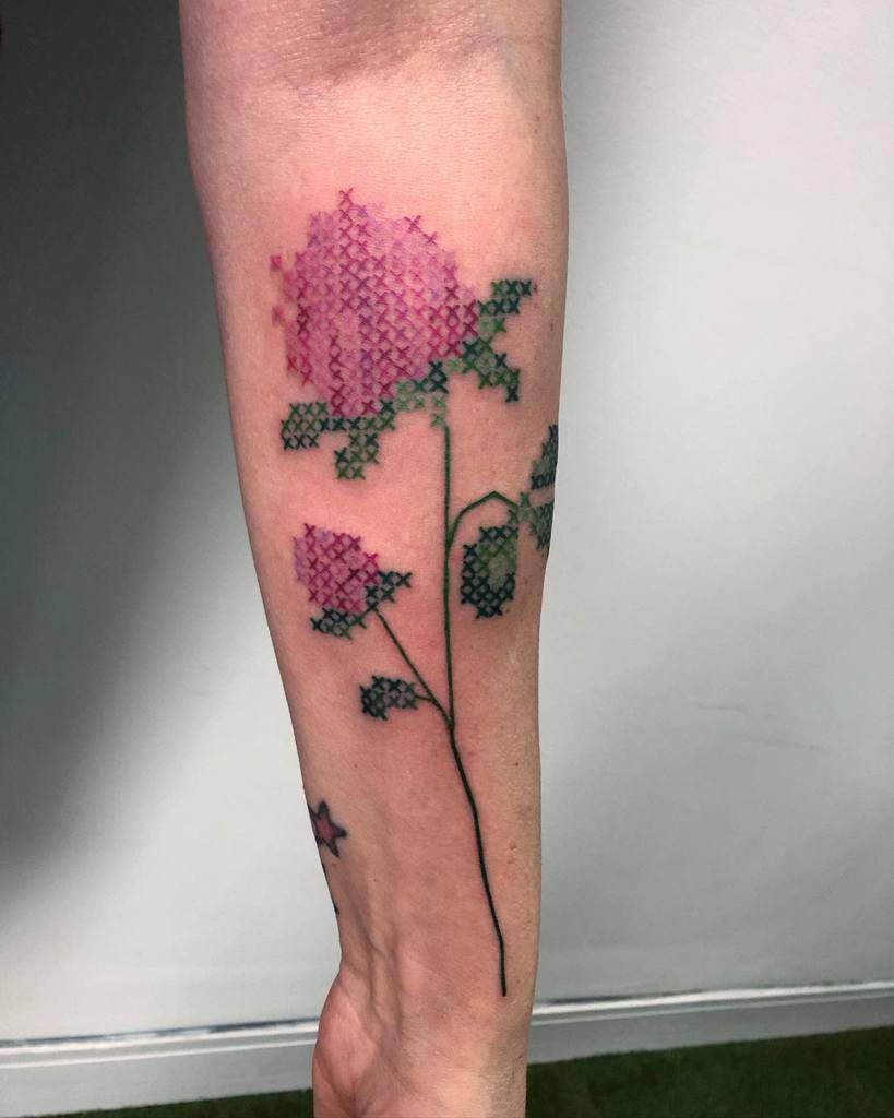 Floral Themed Cross Stitch Becky Tattoo