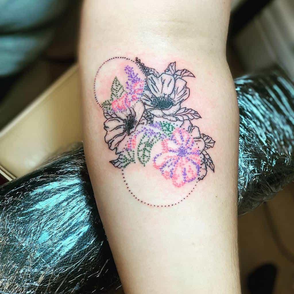 Floral Themed Cross Stitch Disruptiveinktattoos