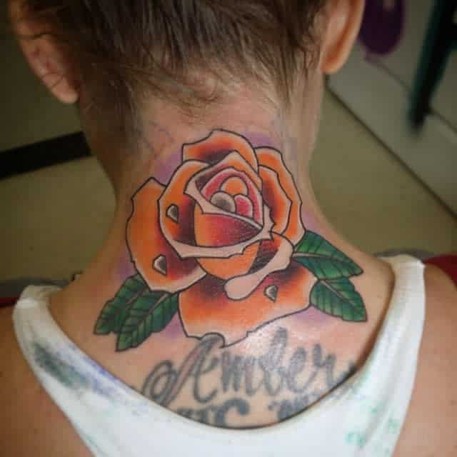 Flower Back of Neck Tattoos merkmrk