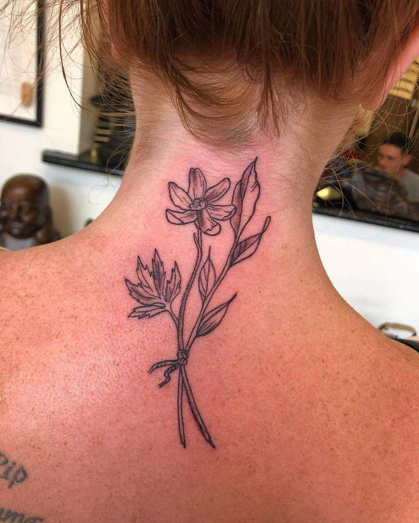 Flower Back of Neck Tattoos taylasdream