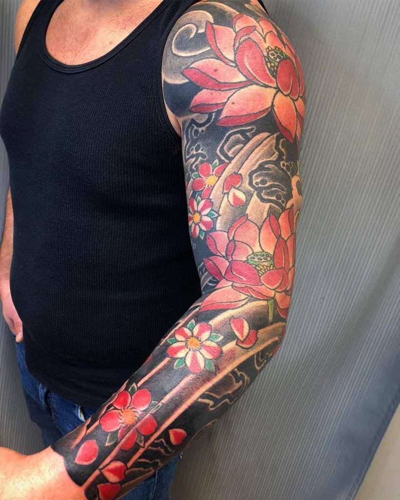 Flower Tattoo Sleeve Filler daveshoemaker