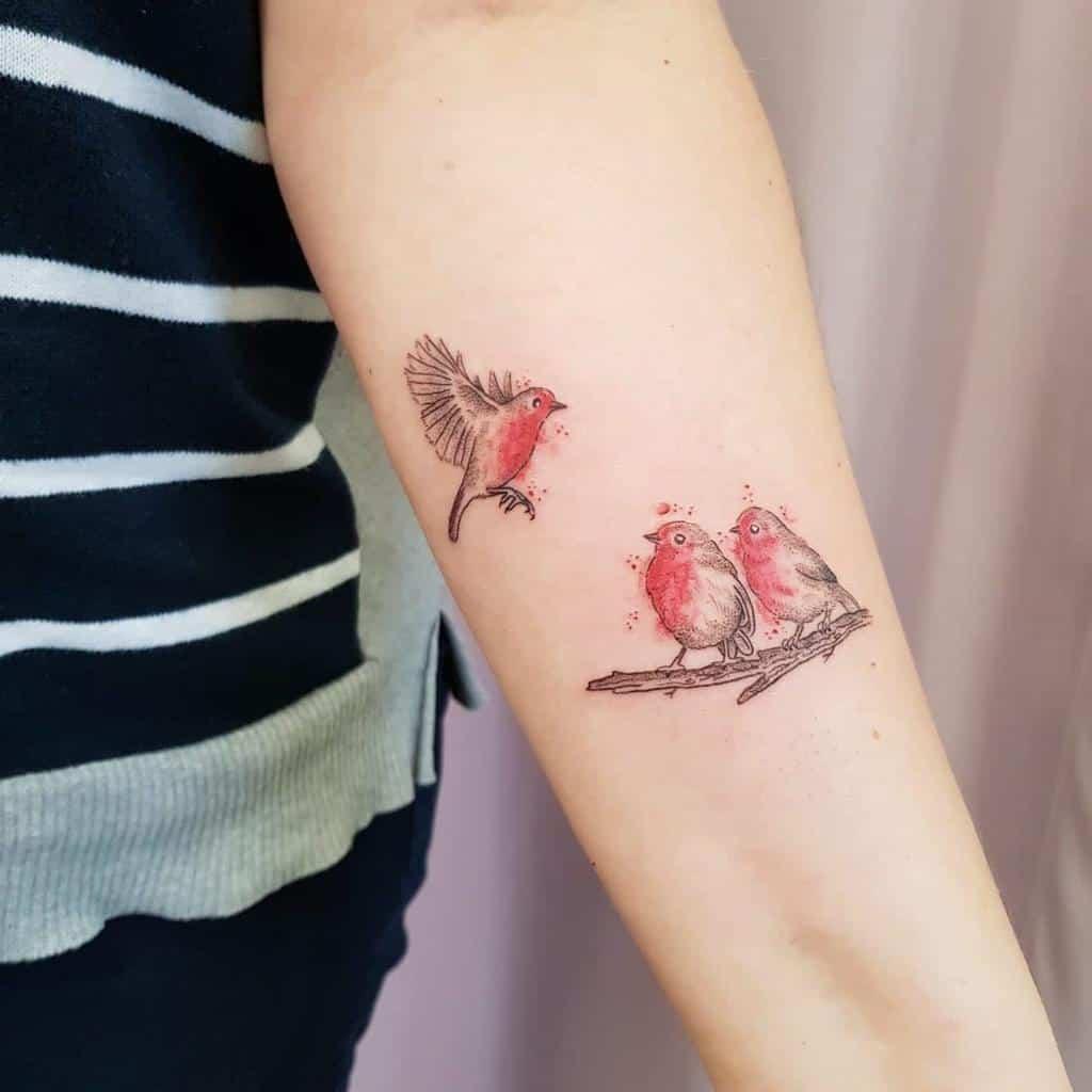Flying Robin Tattoo Buntspechttattoos