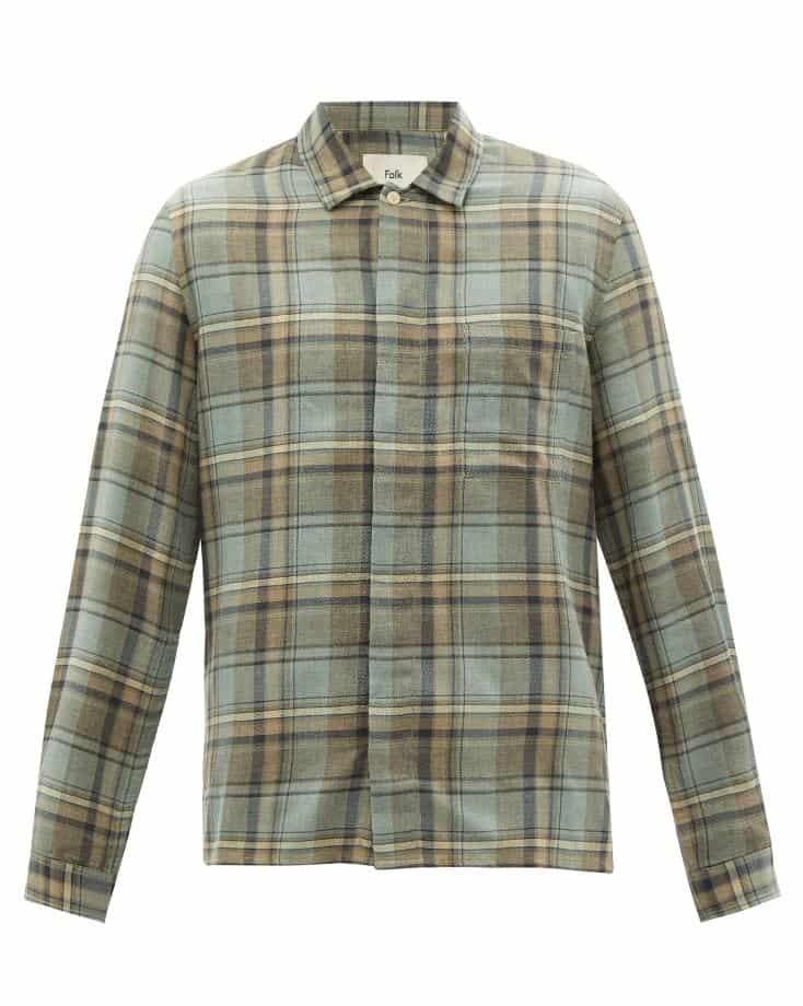 Folk Patch Check Cotton Shirt