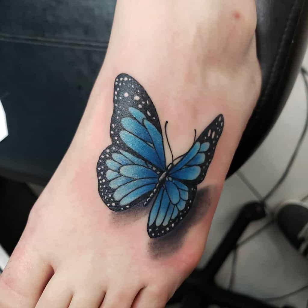 Foot Blue Butterfly Tattoos herenoevil