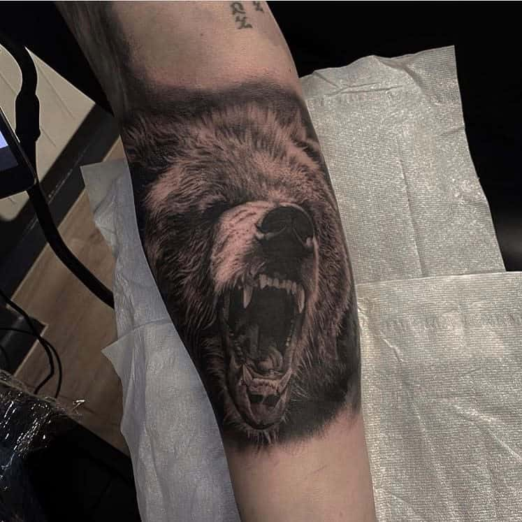 Forearm Black Bear Tattoo edenbridgetattoo