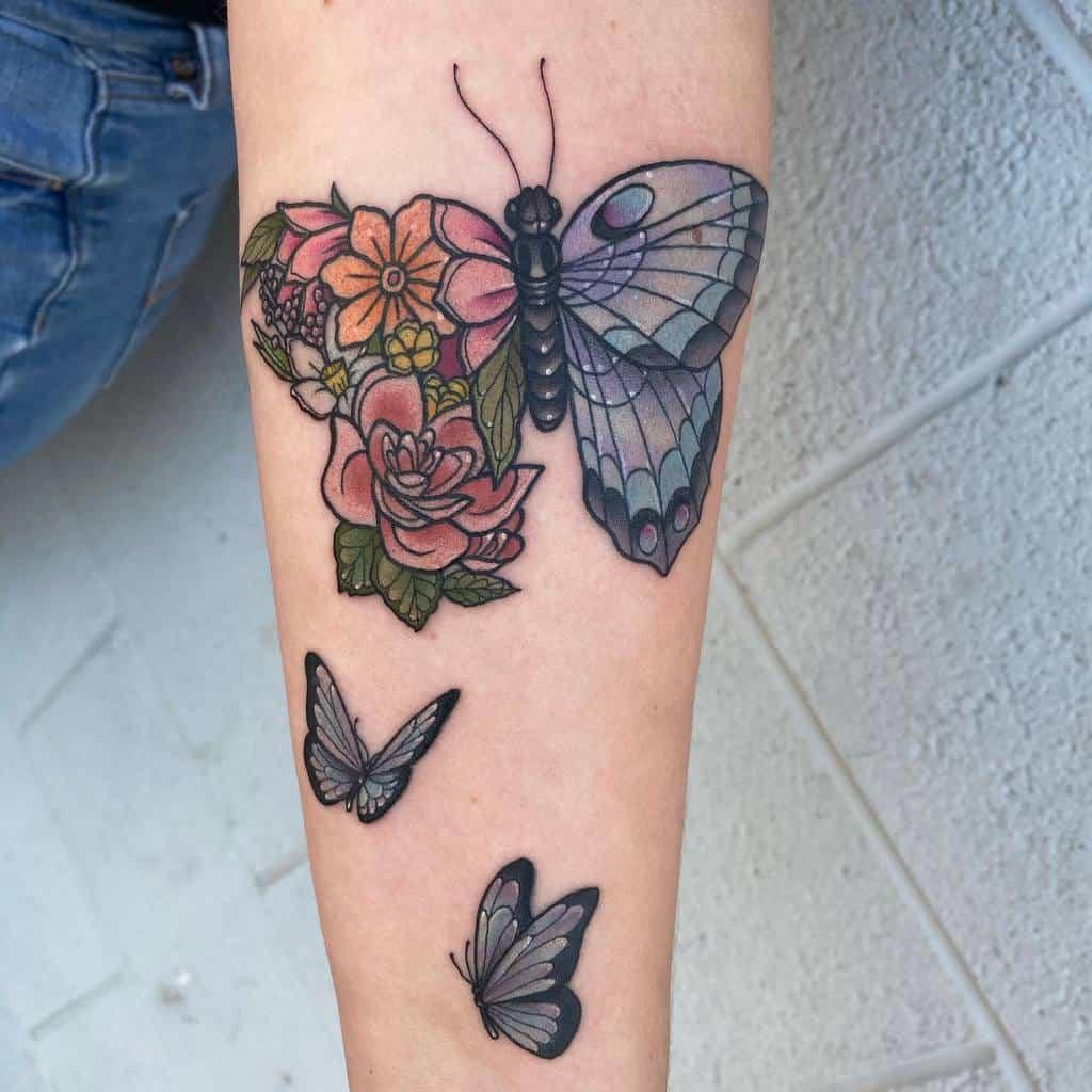 Forearm Blue Butterfly Tattoos sheridanervin