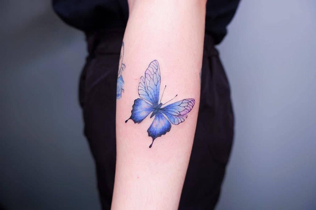 Forearm Blue Butterfly Tattoos tattooistxael