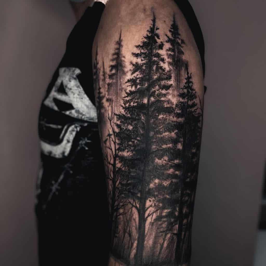 Forest Sleeve Tattoos men roch_saint