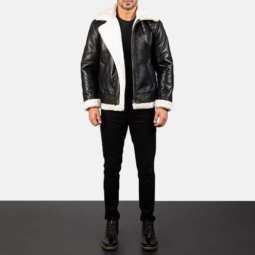 Francis B-3 Black White Leather Bomber Jacket