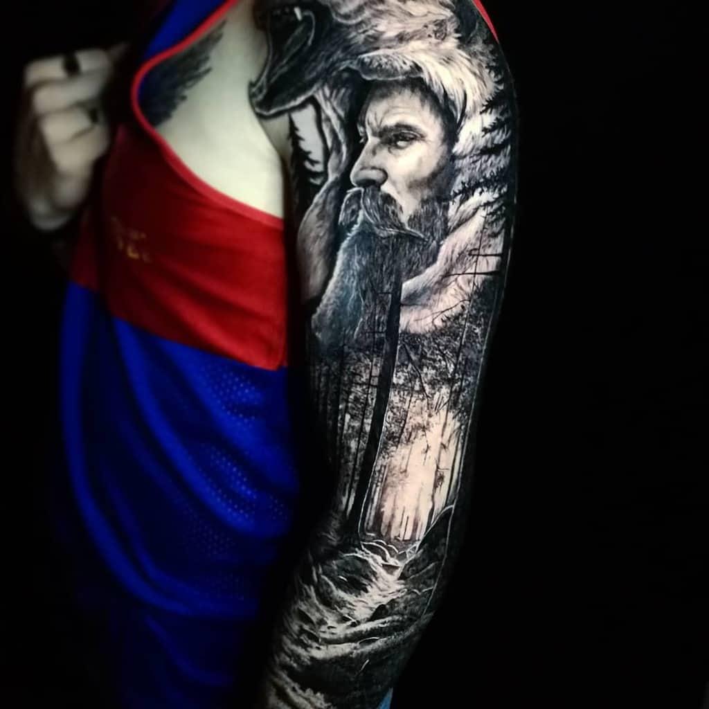 Full Sleeve Forest Sleeve Tattoos barbariantattooshop