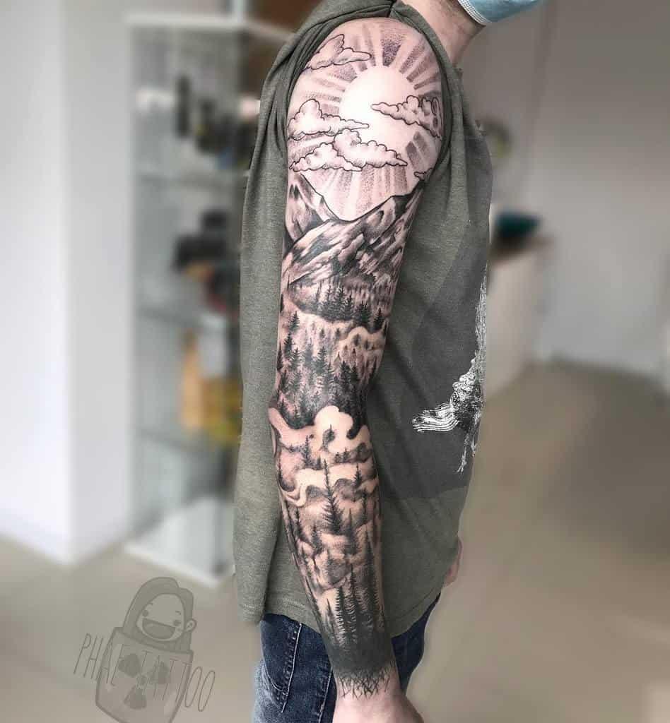 Full Sleeve Forest Sleeve Tattoos meanphaere