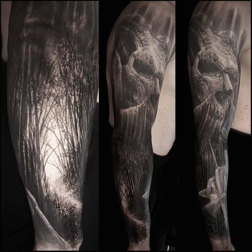 Full Sleeve Forest Sleeve Tattoos nicko_metalink