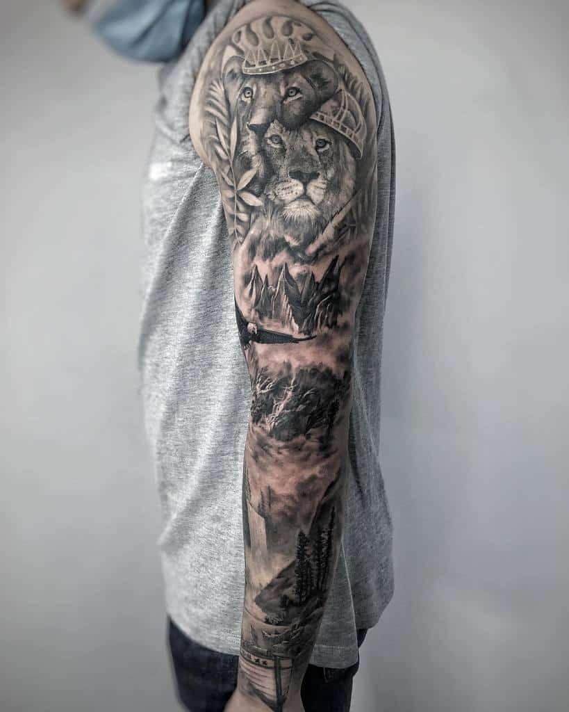 Full Sleeve Forest Sleeve Tattoos noedeer.tattoo