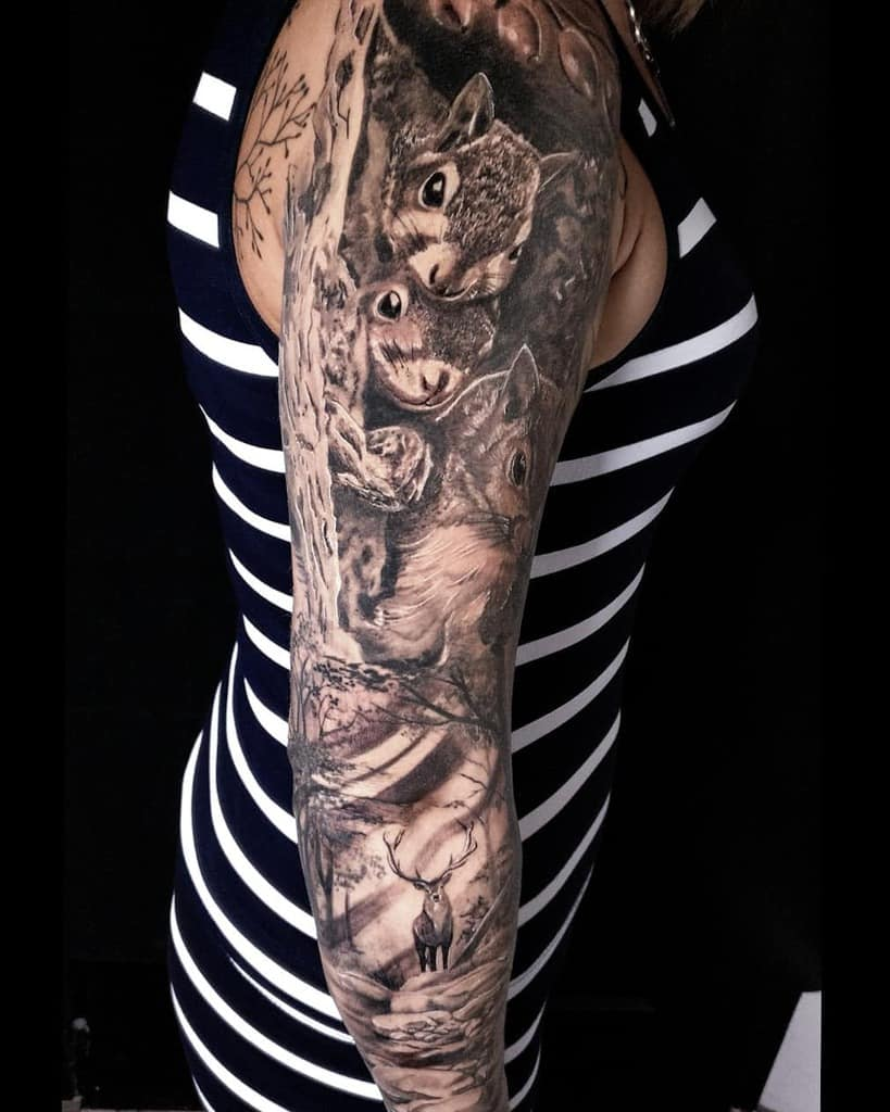 Full Sleeve Forest Sleeve Tattoos panyiklenard