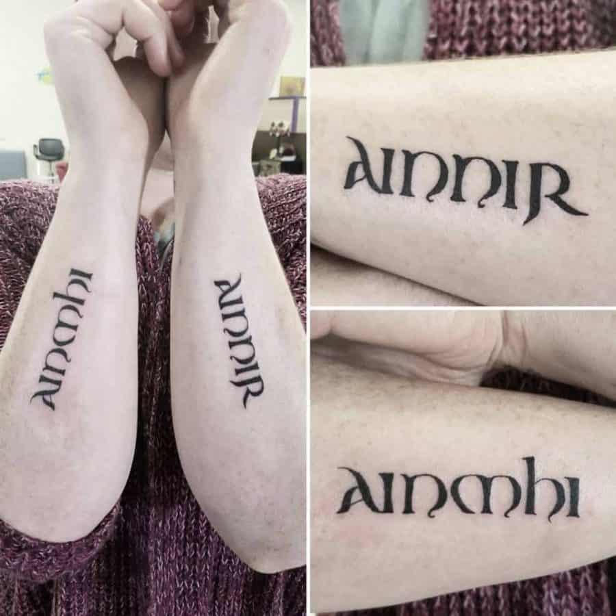 Gaelic Twin Outer Forearm Tattoo