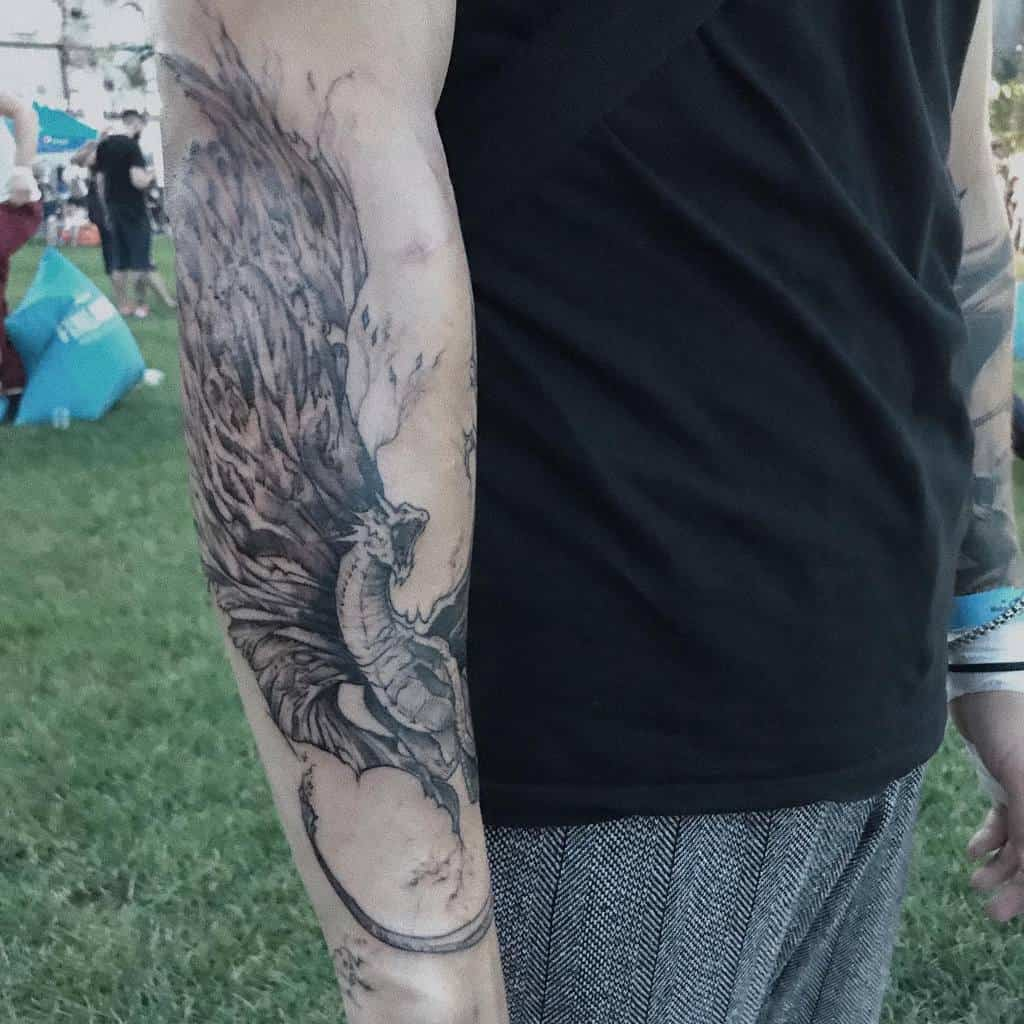 Game of Thrones Dragon Forearm Tattoo nastle.tattoo