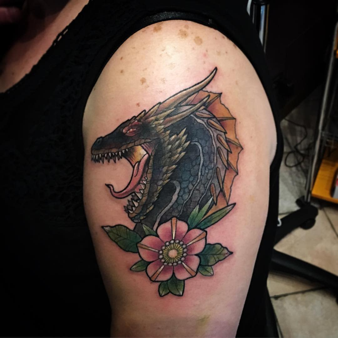 Game of Thrones Dragon Upperarm Tattoo the_ink_list