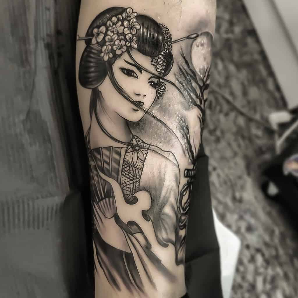 Geisha Samurai Japanese Tattoo